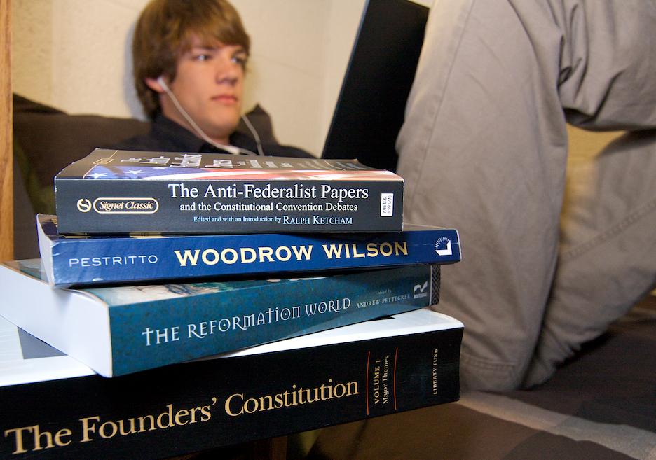 Trevor studying