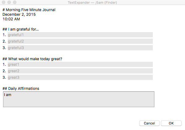Five Minute Journal Morning TextExpander Snippet