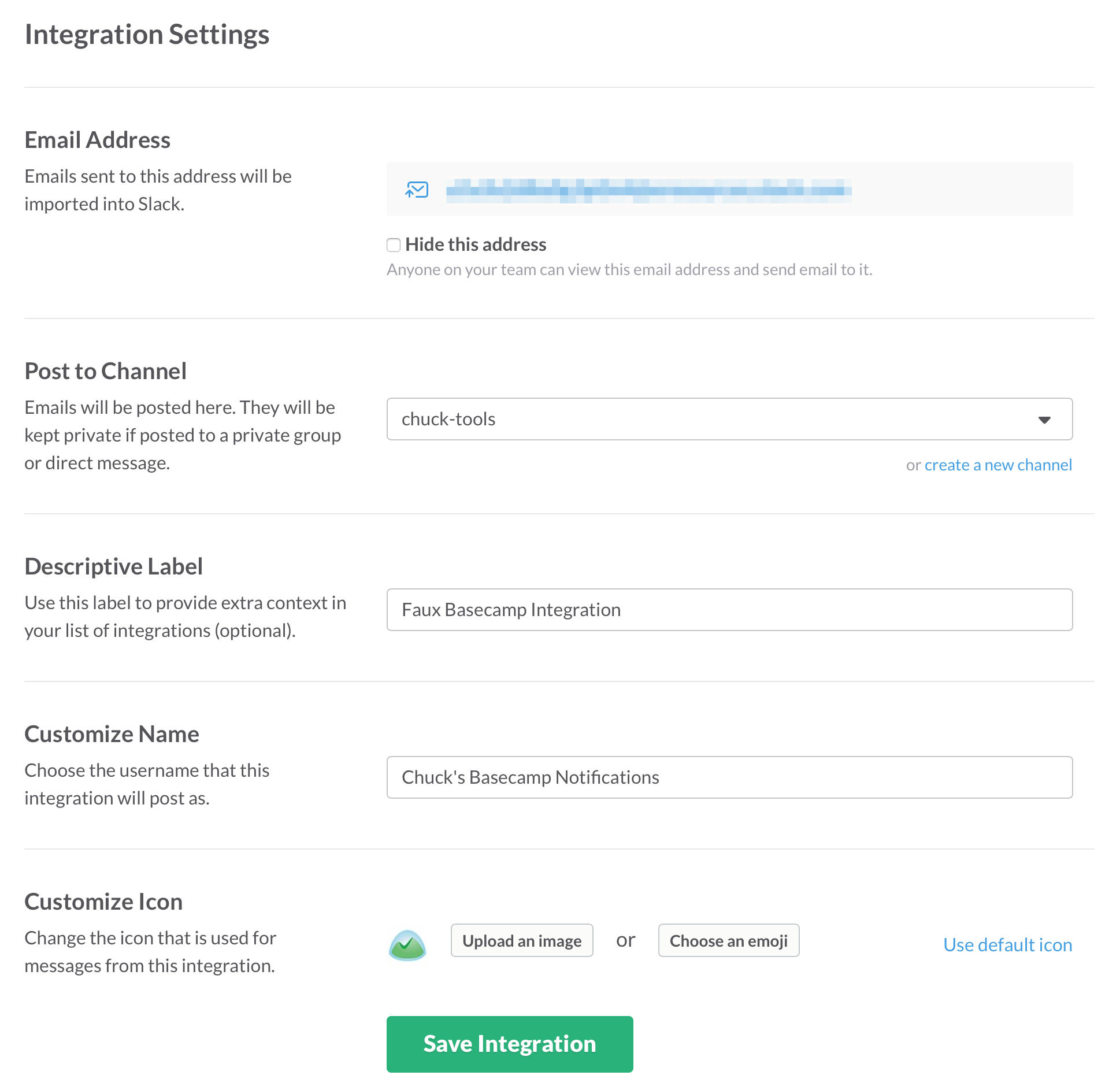 Slack email integration settings