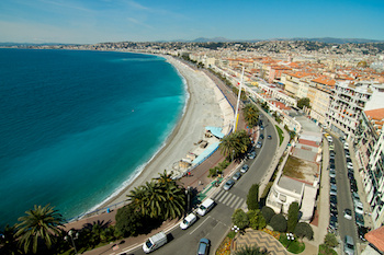 The Promenade des Anglais and the Mediterranean Sea